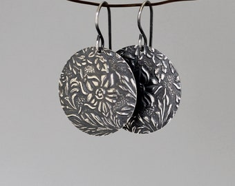 Oxidized sterling silver earrings Dangle floral earrings for women Rustic large circles with flowers