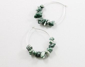 Green gemstone hoop earrings sterling silver 925 Agate stone earrings for women