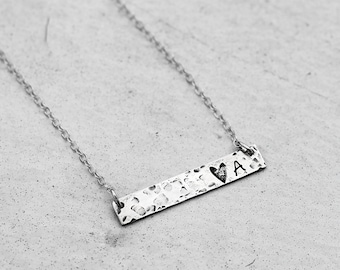 Personalized bar necklace Oxidized sterling silver necklace for women Antiquated