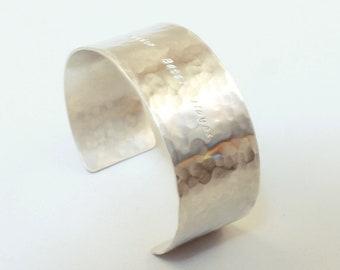 1 inch wide cuff bracelet Sterling silver engraved bracelet for women Secret message Custom gift for women personalized Handmade
