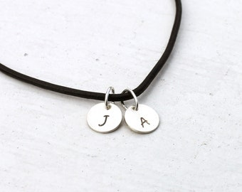 Sterling silver personalized necklace for men women Initial charms Black leather Handmade jewelry