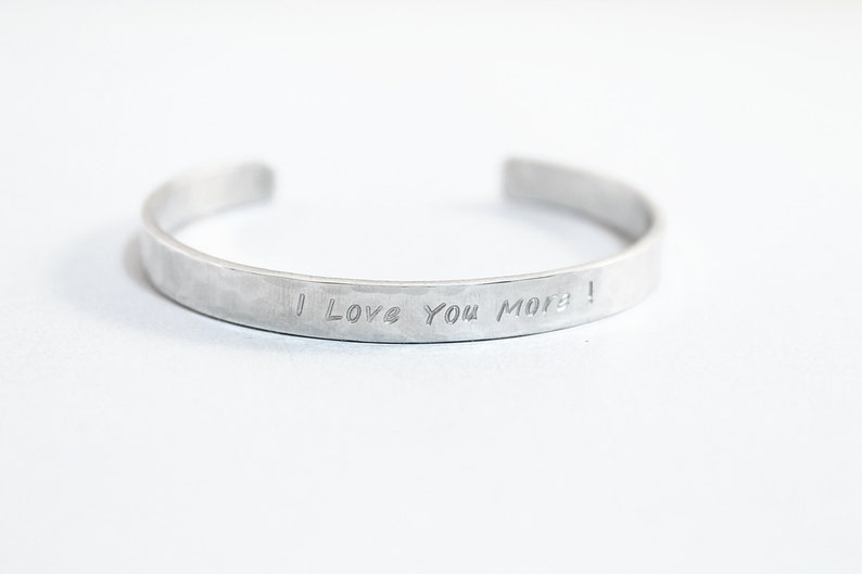 89307f91a25 I love you more bracelet personalized bangle sterling silver   Etsy