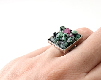 Natural green raw gemstone ring Sterling silver rough stone ruby zoisite cocktail ring for women Unique