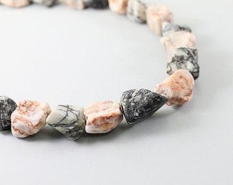 Rough stone necklace raw gemstone necklace zebra picture jasper jewelry, chunky necklace, raw stone necklace