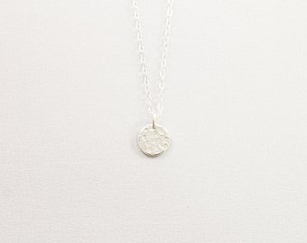 Small hammered circle necklace Sterling silver disc necklace for women Simple tiny coin Textured charm