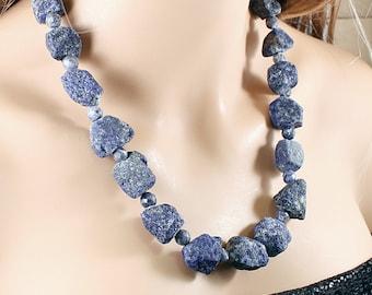 Lapis lazuli necklace: raw stone necklace, rough gemstone jewelry, chunky necklace, blue crystal raw gemstone necklace big stone