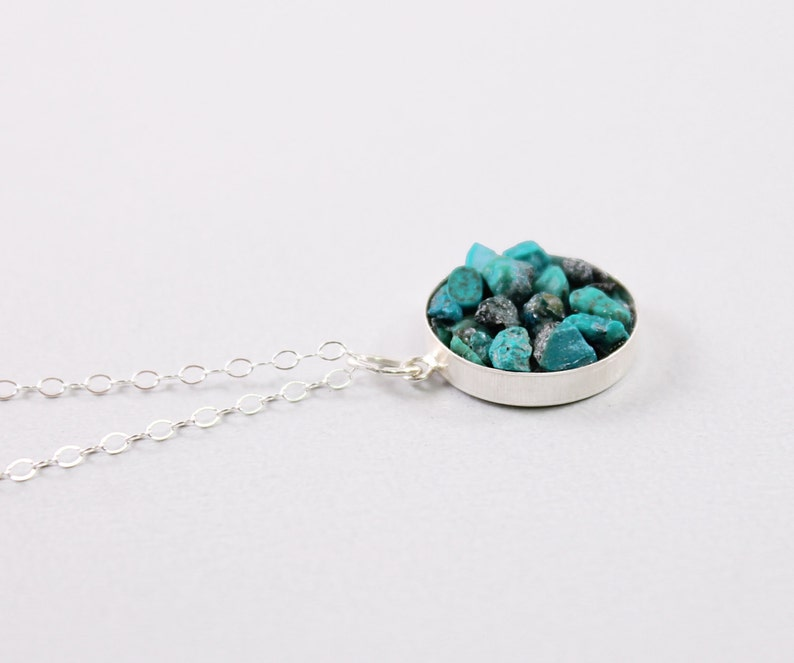 Real turquoise necklace Sterling silver rough gemstone pendant for women Short or Long chain 30 32 34