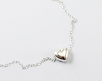 Silver heart necklace - sterling silver simple necklace love jewelry minimalist small heart necklace, heart jewelry gift for girlfriend