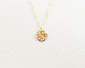 Hammered circle necklace Gold filled simple necklace for women Small disc tiny pendant