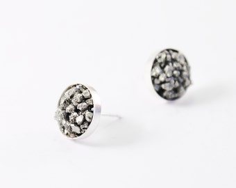 Rough crystal stud earrings Sterling silver and raw pyrite For women