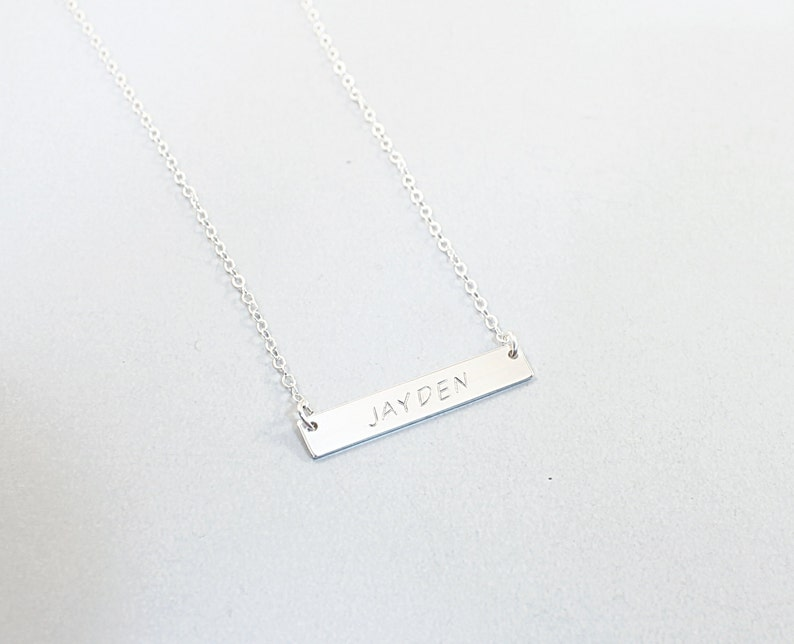 925 Sterling Silver Personalized Custom Engraved Horizontal Bar Necklace