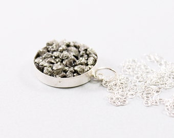 Raw stone necklace for women Sterling silver chain Rough gemstone pendant Long or short