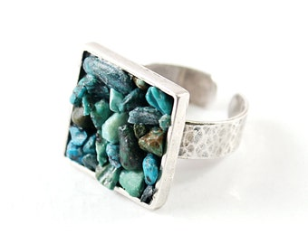 Real turquoise ring Sterling silver adjustable band and genuine gemstones For women