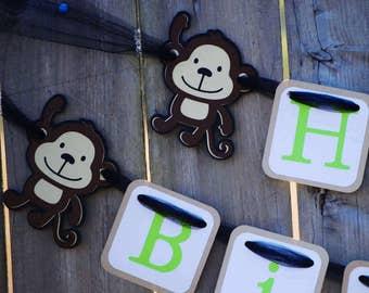 Monkey and Banana Birthday Banner, Monkey Birthday Theme,Monkey Baby Shower