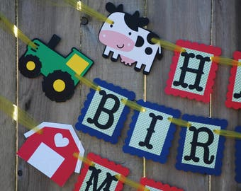 Tractor, Barnyard Birthday Banner, Farm Party, Farm Theme, Barnyard Theme Party Decor