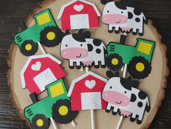 Barnyard Party Cupcake Toppers Barn Birthday Cows Tractors Tractor Farm