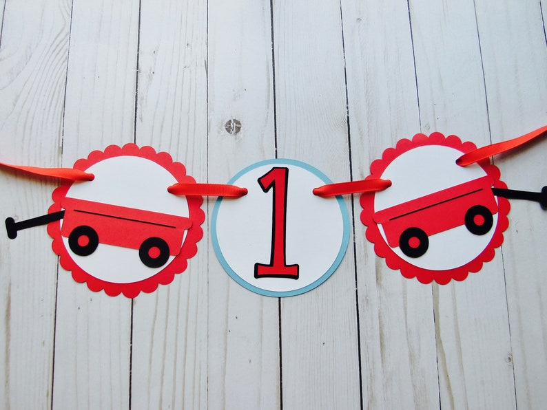 Red Wagon Birthday Banner Red Wagon High Chair Birthday Party Banner Red Wagon Birthday Party