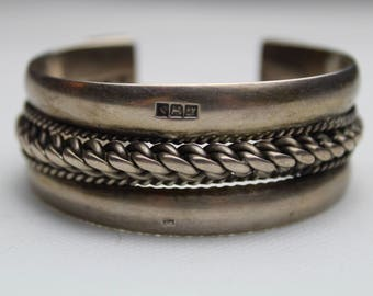 Antique vintage bedouin Cuff Silver Palestinian Bracelet Egyptian Jewelry with Ottoman Tughra