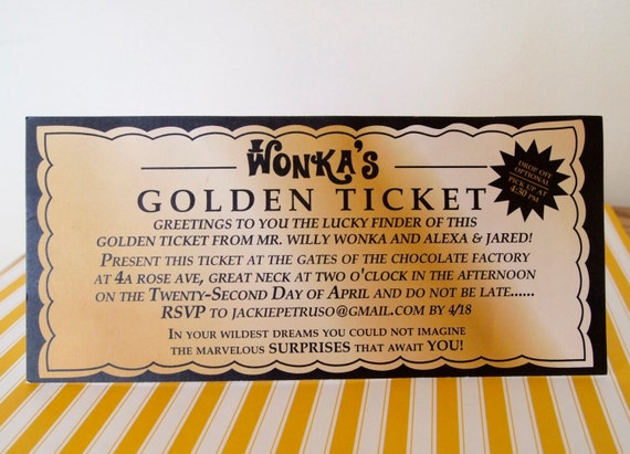 Willy Wonka Golden Ticket Invitation Digital Printable File Printing Available Upon Request