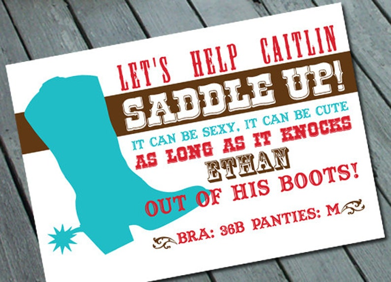 Digital printable file Printing Available Upon Request Western Cowgirl Theme Lingerie Card