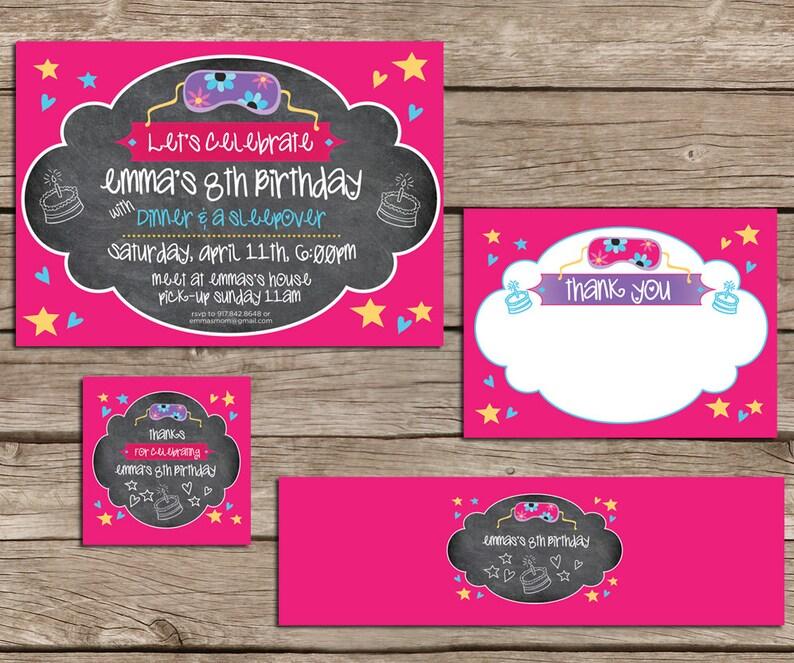 Girl's Sleepover Slumber Party Invitation set