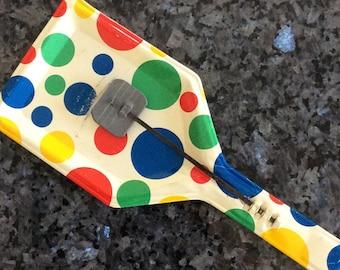 Mid century Metal Noise Maker/polka dot paddle toy /USA tin toy/1960s party favor// tin toy/mid century toy/vintage noise maker