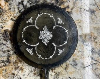 Vintage lucite hand held mirror, silver rose design, vanity mirror ladies hand mirror