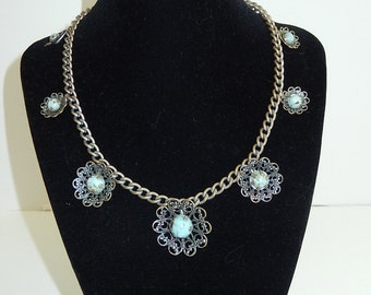 Turquoise color stone Necklace-Silver tone choker -ladies vintage jewelry-unique filigree necklace/ladies gift idea/