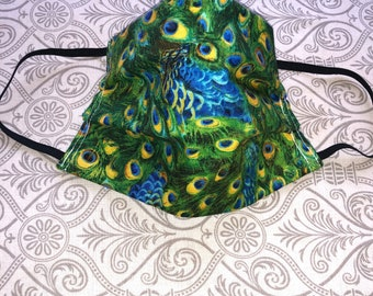 Face mask- Reuseable mask-Peacock mask /dust pollen mask-made in USA/ 100% Cotton-2 LAYERS fabric/fabric mask face/Peacock mask/Free ship