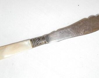 Vintage Butter knife- Vintage engraved scroll design-signed Abbey-small pearly handled knife-vintage serving knife-holiday servingware