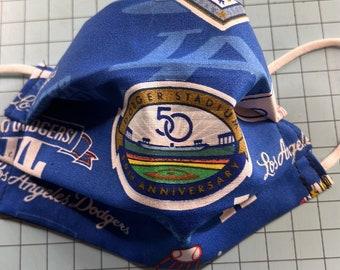LA Dodgers facemask /LA Baseball team mask-made in USA/ 100% Cotton mask Dodgers Baseball/Worldseries