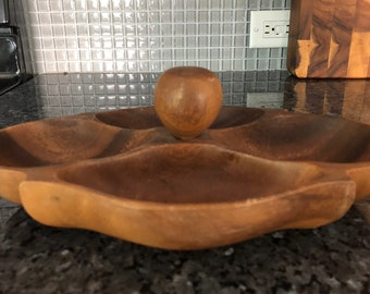 MONKEY POD Divided bowl/Philippines/Hand crafted wood bowl/vintage serving bowl for nuts