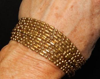 Art Deco Metal Bracelet- Metal Ball Bead Bracelet-long beads-multi-strand beads-1930s Art Deco Jewelry-Antique brass bracelet-bead strands