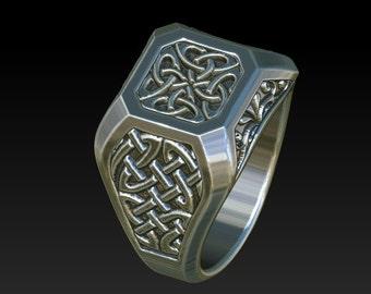 Mens Celtic Irish Scottish signet ring chevalier wedding ring RS1B