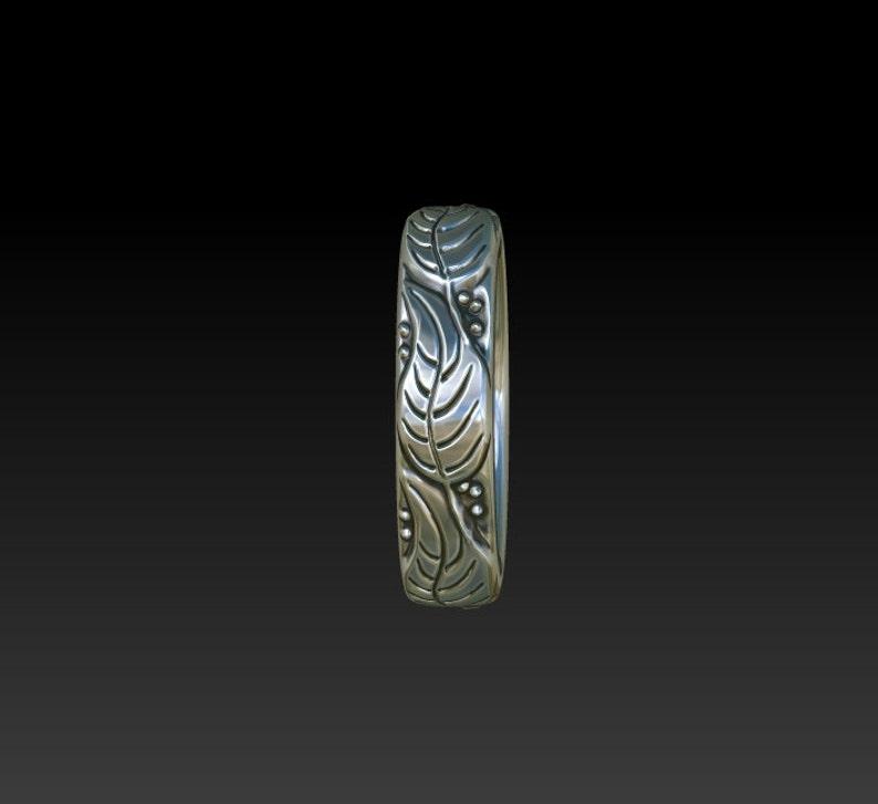Leaves narrow wedding band ring thumb pinky ring band LR1s