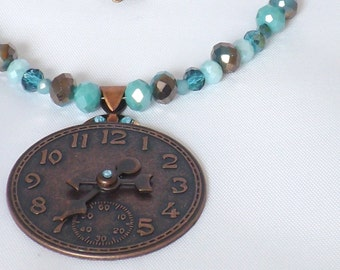 Antique Copper Scrapbook Clock Face with Blue Beads and Swarovski Crystal Pendant Necklace