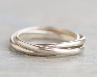 Interlocking Ring Bands - 3 Seterling Silver Overlapping Bands - Size 7 Spinning ring bands