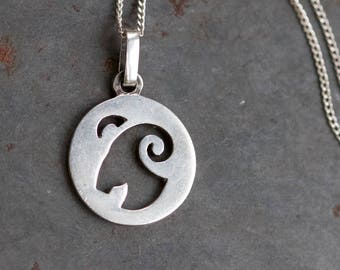 Ram Necklace - Sterling Silver Animal Medallion Pendant on Chain - Zodiac Sign
