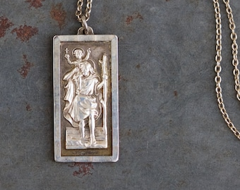 fbf70756109 Saint Christopher Necklace - Sterling Silver Mid Century Medallion on Chain  - Travelers Protector - Religious Icon Vintage Oxidized Jewelry