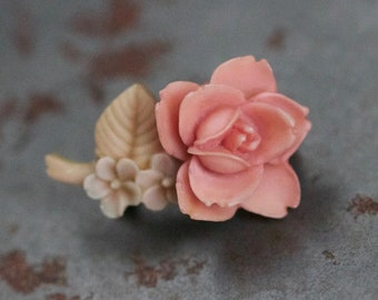 Living coral jewelry flower boutonniere peach rose broach Brooch bouquet Brooches apricot papaya Coral broche Pink Floral bouquet roses