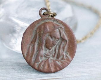 Virgin Mary Necklace - Copper Medallion Pendant on Chain - Antique Oxidized Religious Jewelry