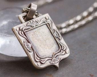 Watch Fob Necklace - Photo Shield Antique Medallion on Chain - Gothic Voctoriana