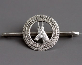 e12ad7cf34ca Union is Strength Antique Tie Pin - Sterling Silver Eendracht Maakt Macht Tie  Bar - Vintage Oxidized Jewelry