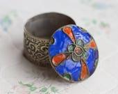 Snuff Box or Ring Box - Blue Enamel Inlay - Cloisonne