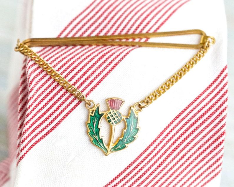3838a82bcc3af Pince à cravate chardon écossais avec chaîne émaux sur | Etsy