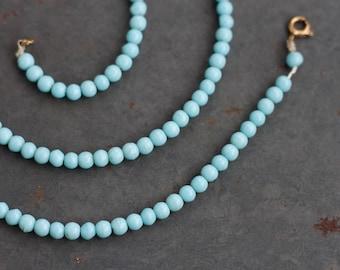 Sky Blue Necklace - Glass Round Beads - Vintage Jewelry