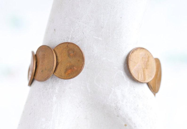 USA Boho Cuff Repurposed One Cent Coins Coin Cuff Bracelet