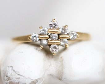 18k Art Deco Engagement Ring Size N - 18ct Yellow Gold Ring Size 6.5 - Stamped 750 - Vintage Elegant Jewelry