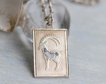 Ram Necklace - Sterling Silver Medallion Pendant on Chain - Zodiac Sign - Vintage Oxidized Jewelry