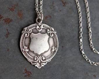 Watch Fob Necklace - Sterling Silver Antique Shield Medallion on Chain - Gothic Voctoriana